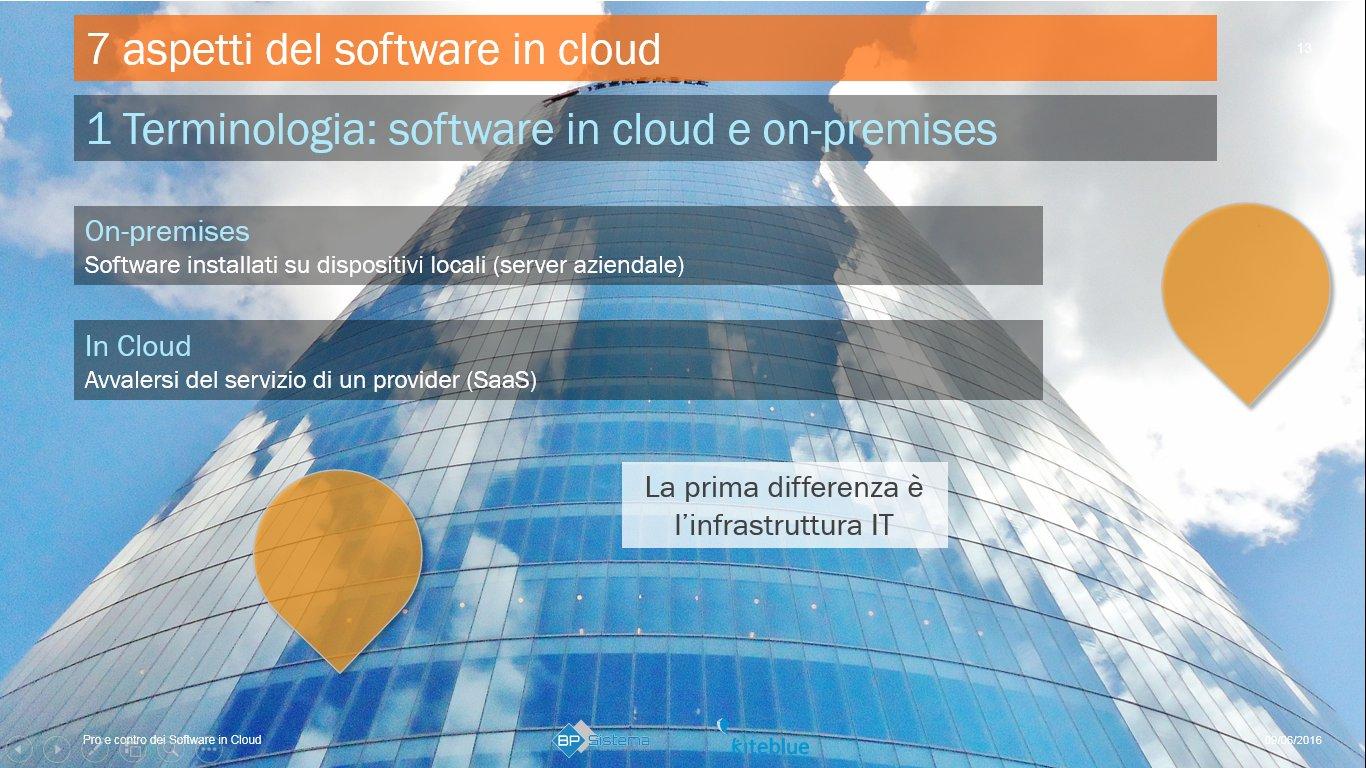 slide presentazione pro e contro software in cloud